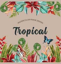 Tropical-themed frame design with butterfly vector