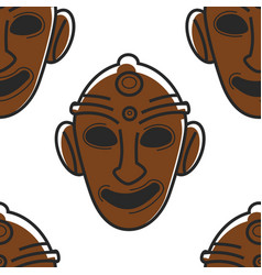 Tunisian mask museum relic or tribal totem vector