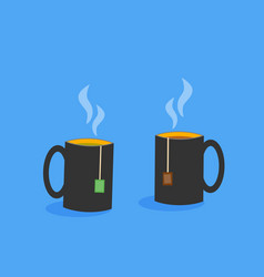 two cups of tea with tea bags vector image