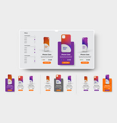 ui set product cards for online store and vector image