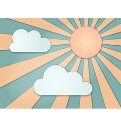 Vintage background rays sky clouds vector
