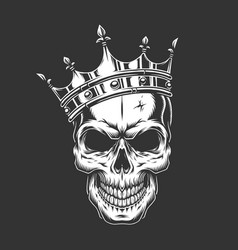 vintage monochrome prince skull in crown vector image