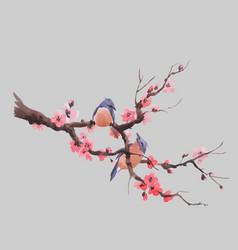 Watercolor sakura branch vector