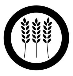 Wheat icon black color in circle vector