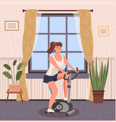 woman doing cycling exercise a girl with bike vector image