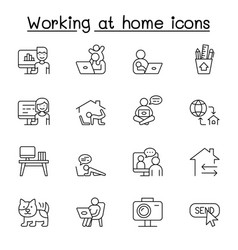 work from home icons set in thin line style vector image