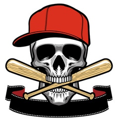 skull bite a baseball bat vector image vector image