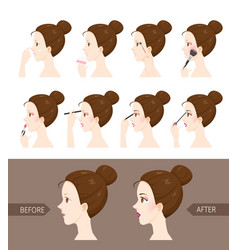 step to make up of side view woman vector image