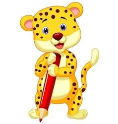 Cute leopard cartoon holding red pencil vector