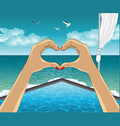 heart shape from the hands on luxury resort vector image vector image