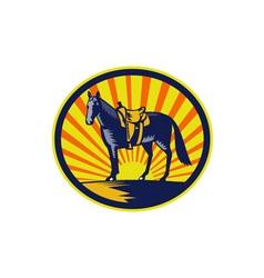 Horse western saddle oval woodcut vector