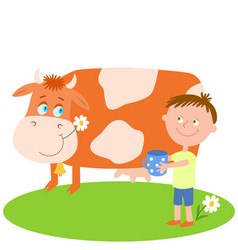 Little boy with blue cup and red cow vector