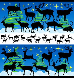 Reindeer Christmas Silhouettes and Isolated on Whi vector image