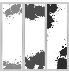 Vertical banners with grey paint splash vector image