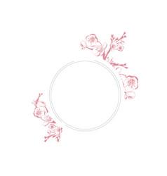 vintage spring blossom flower round frame vector image vector image