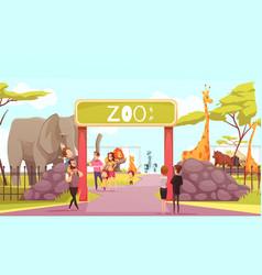 zoo entrance gate cartoon vector image vector image