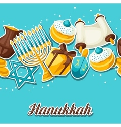 Jewish Hanukkah celebration seamless pattern with vector image vector image