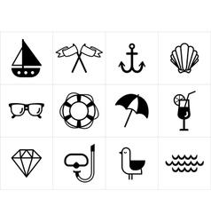 Summer sea icons set vector