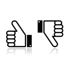 Thumb up and down black icon - social media vector image