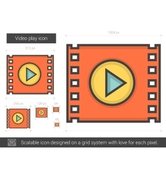 Video play line icon vector