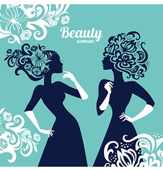 Beautiful women silhouette with flowers vector image vector image