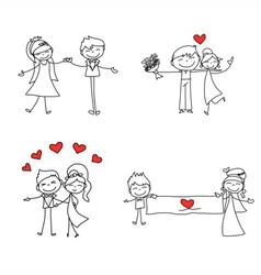 cartoon character happy lovers wedding vector image