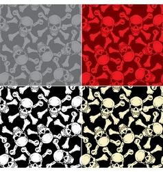 Evil skull with bones Warning sign Seamless vector image
