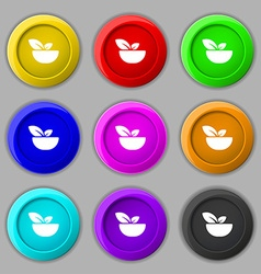 Organic food icon sign symbol on nine round vector image