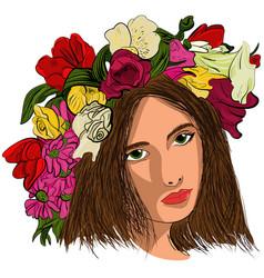 pop art beautiful woman in flower wreath vector image