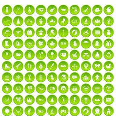 100 children icons set green vector