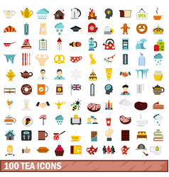 100 tea icons set flat style vector image vector image
