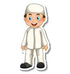 A sticker template with muslim boy in standing vector