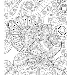 Adult coloring bookpage a thanksgiving turkey vector