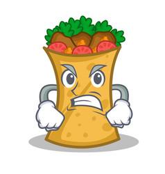 Angry kebab wrap character cartoon vector