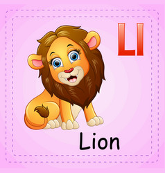 Animals alphabet l is for lion vector