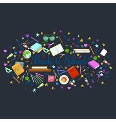 Back to school flat style background created from vector image