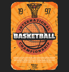 basketball sport poster with leather ball vector image
