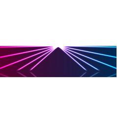 Blue ultraviolet neon laser lines abstract banner vector