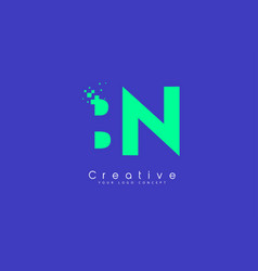 bn letter logo design with negative space concept vector image