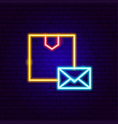 box mail neon sign vector image