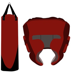 Boxing bag and helmet vector image