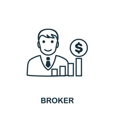 Broker icon outline style thin line creative vector