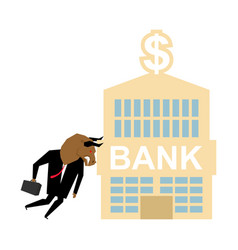 bull and bank building businessman attacked bank vector image
