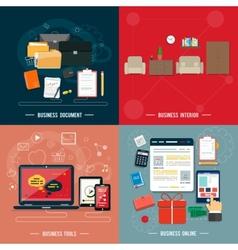 Business tools interior online documents vector