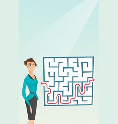 Business woman looking at labyrinth with solution vector
