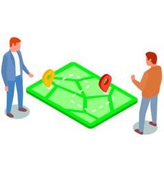 Businessmen determine geolocation studying new vector