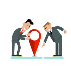 Businessmen put a label on a map vector