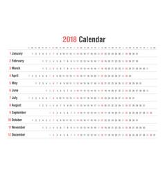 Calendar 2018 landscape design vector