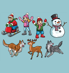 cartoon set of kids in winter activity vector image