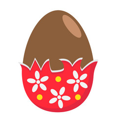 Chocolate egg with wrapper flat icon easter vector